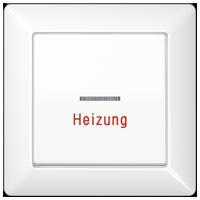 """Wippe mit Lichtleiter und Aufschrift """"Heizung"""", mit Rahmen"""