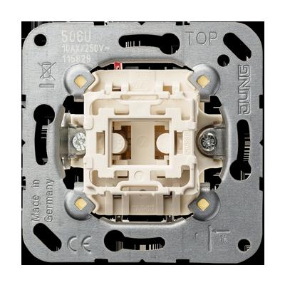 Wippkontrollschalter-Einsatz. Aus- und Wechselschaltung mit N-Klemme.
